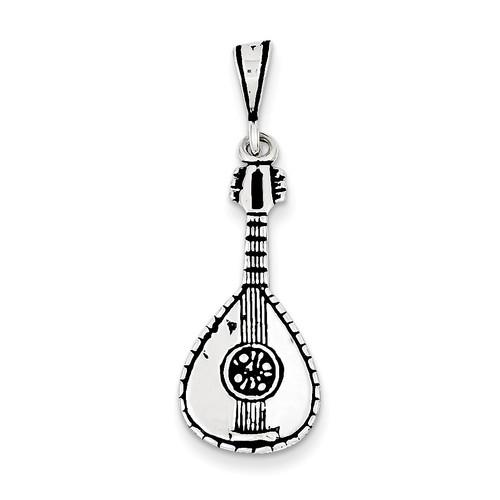 Mandolin Charm Antiqued Sterling Silver QC7762