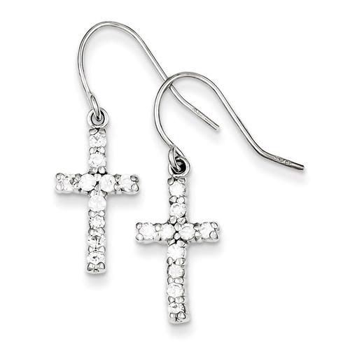 Cross Earrings Sterling Silver Diamond QE1012