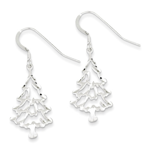 Christmas Tree Earrings Sterling Silver QE3341
