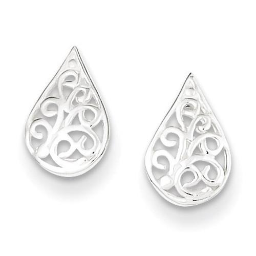 Filigree Post Earrings Sterling Silver QE8652