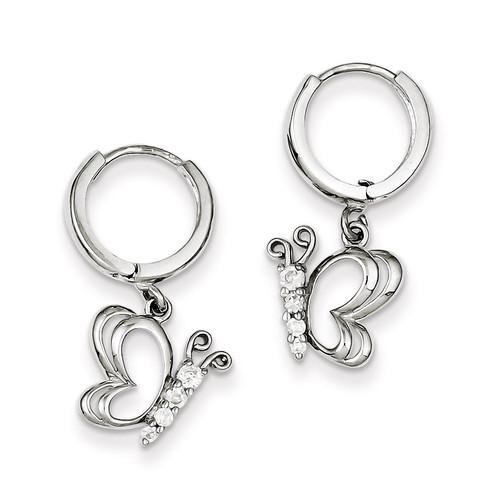 Butterfly Dangle Hinged Hoop Earrings Sterling Silver Diamond QE9233