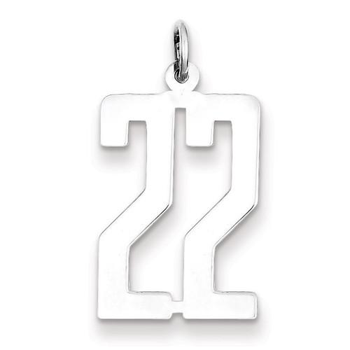 Number 22 Pendant Sterling Silver Elongated Polished QEM22