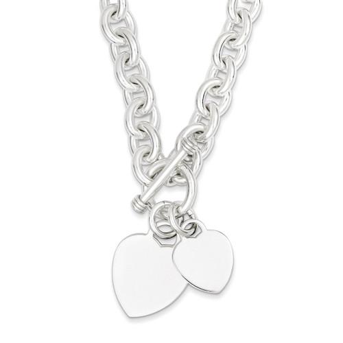 8.75 Inch Heart Disc on Fancy Link Toggle Bracelet Engravable Sterling Silver QG1148-8.75