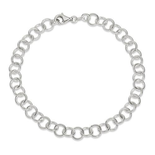 10 Inch Fancy Link Anklet Sterling Silver Polished QG1181-10