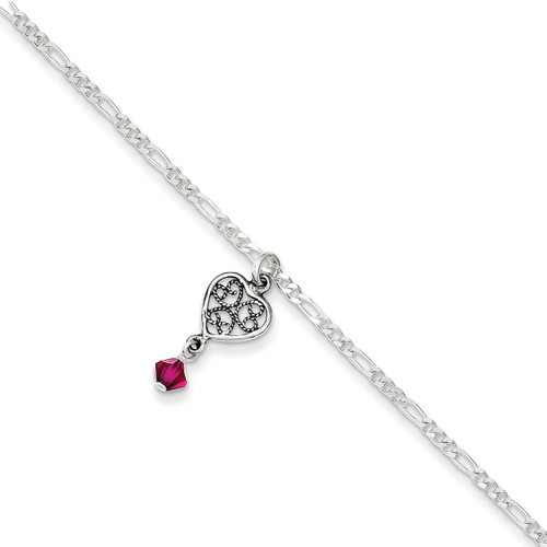 10 Inch Dark Pink Crystals Dangling Hearts Anklet Antiqued Sterling Silver QG1209-10