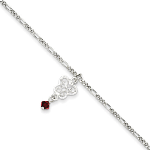 10 Inch Dark Pink Crystals & Dangling Butterflies Anklet Sterling Silver QG1213-10
