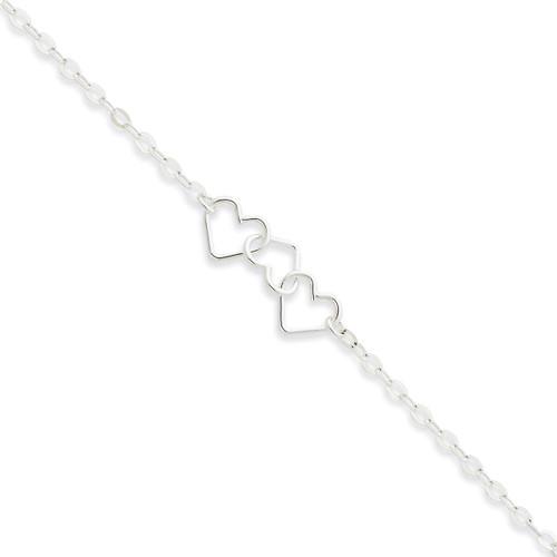 10 Inch Fancy Heart Link Anklet Sterling Silver Solid Polished QG1255-10