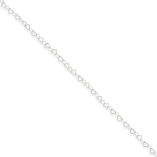 10 Inch 0.5mm Fancy Heart Link Anklet Sterling Silver QG1345-10
