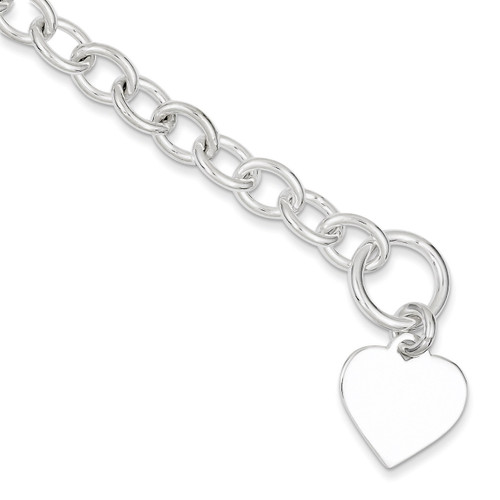7.5 Inch Link Bracelet Sterling Silver Fancy QG1464-7.5