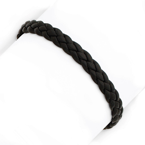 7 Inch Black Braided Leather Bracelet Sterling Silver QG1848-7