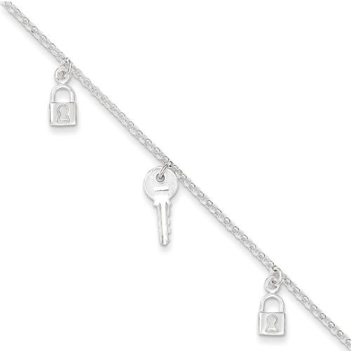 10 Inch Lock & Key Anklet Sterling Silver Polished QG2147-10