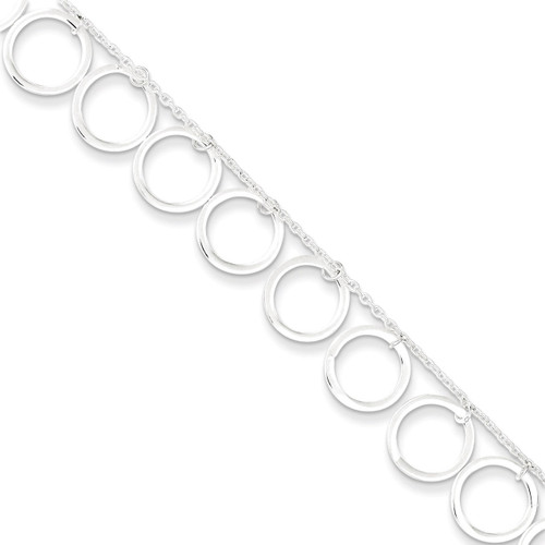 10 Inch Dangle Circles Anklet Sterling Silver QG2343-10