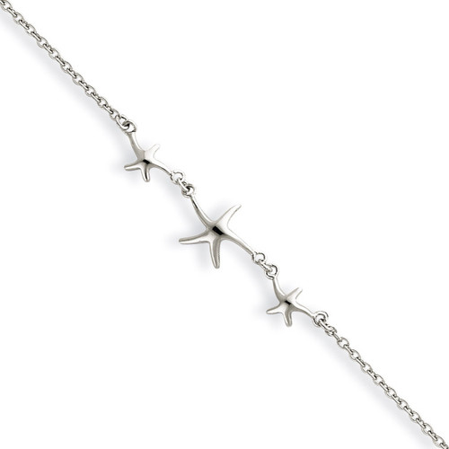 10 Inch 10 1in ext Three Stars Anklet Sterling Silver QG2786-10