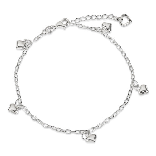 9 Inch Puffed Heart Anklet Sterling Silver Polished QG2791-9