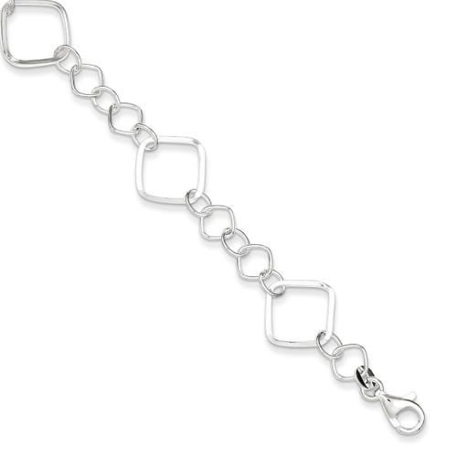7.75 Inch Square Link Bracelet Sterling Silver QG3024-7.75