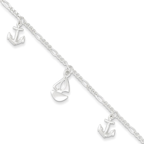 9 Inch Boat and Anchor & Extension Anklet Sterling Silver Polished QG3159-9