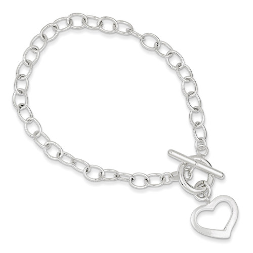 7.5 Inch Open Link Heart Bracelet Sterling Silver QG3278-7.5