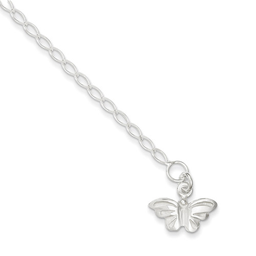 10 Inch Butterfly Anklet Sterling Silver Solid Polished QG441-10