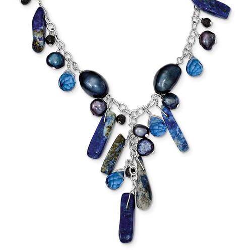 16 Inch Blue Sandstone Dark Blue Cultured Pearl Necklace Sterling Silver QH2673-16