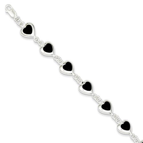 7 Inch Polished Heart Onyx Bracelet Sterling Silver Fancy QH387-7