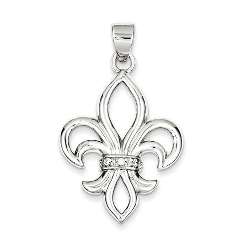 Fleur de Lis Pendant Sterling Silver Diamond QP1147