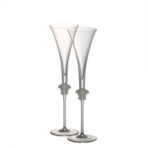 Versace Medusa Lumiere Champagne Flute PAIR 6 ounce 12 inch