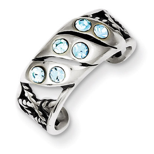 Blue Stellux Crystal Toe Ring Antiqued Sterling Silver QR1903
