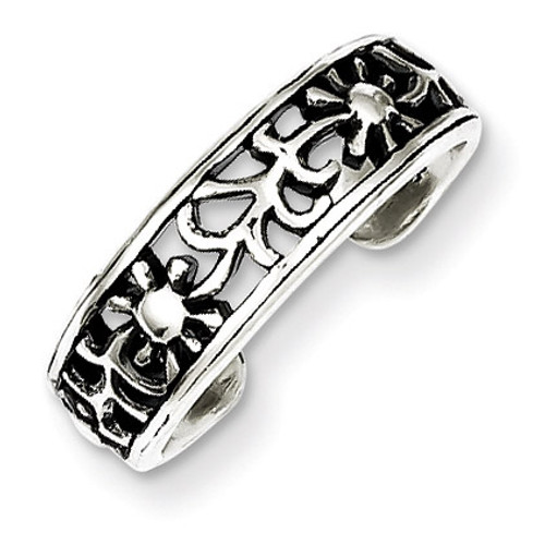 Floral Toe Ring Antiqued Sterling Silver QR767
