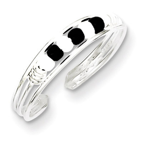 Black & White Beaded Toe Ring Sterling Silver QR771