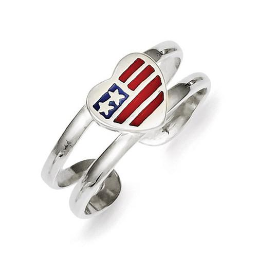 Flag Heart Toe Ring Sterling Silver Enameled QR779
