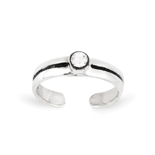 Antiqued Toe Ring Sterling Silver Diamond QR844