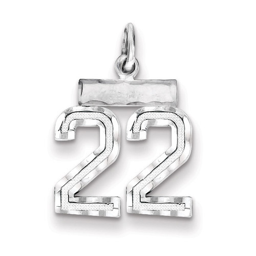 Number 22 Charm Sterling Silver QSN22