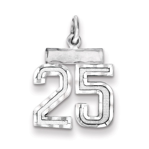 Number 25 Charm Sterling Silver QSN25