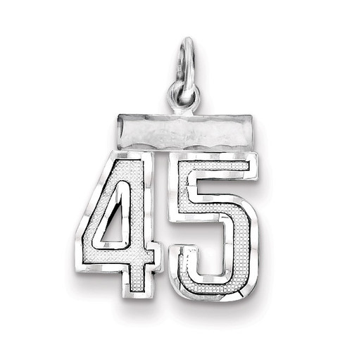 Number 45 Charm Sterling Silver QSN45