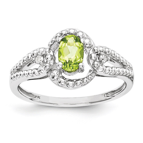Peridot & Diamond August Ring Sterling Silver QBR16AUG