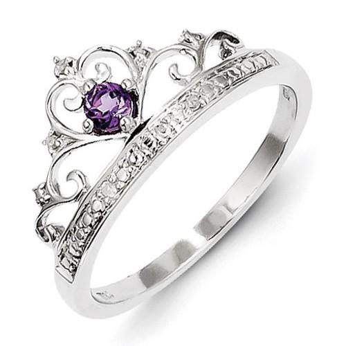 Amethyst Ring Sterling Silver Rhodium-plated Diamond QR4645AM