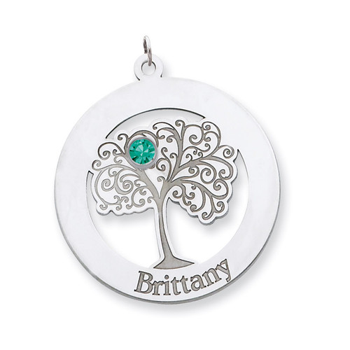 1 Birthstone Family Crystal Pendant Sterling Silver QMP10/1SS