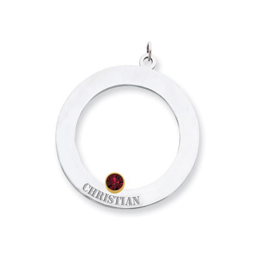 1 Birthstone Bezel Family Crystal Pendant Sterling Silver & 14k Gold QMP11/1G