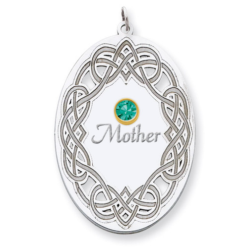 1 Birthstone Bezel Family Crystal Pendant Sterling Silver & 14k Gold QMP13/1G