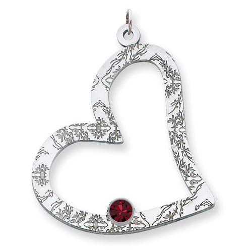1 Birthstone Family Crystal Heart Pendant Sterling Silver QMP2/1SS