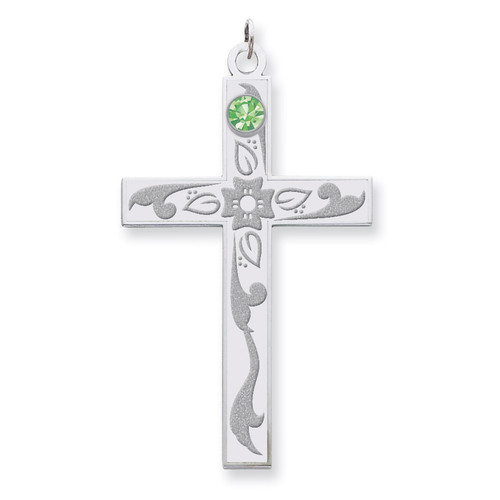 1 Birthstone Family Crystal Cross Pendant Sterling Silver QMP4/1SS
