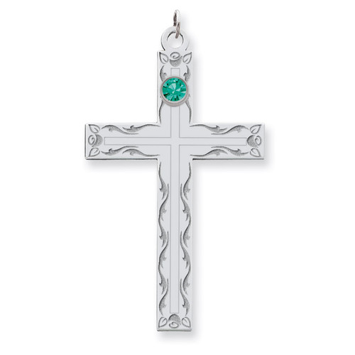 1 Birthstone Family Crystal Cross Pendant Sterling Silver QMP5/1SS