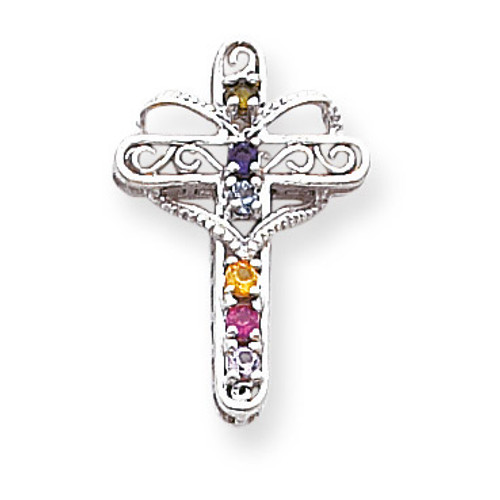 6 Birthstones Filigree Mothers Cross Pendant 14k White Gold Polished XMP6/6