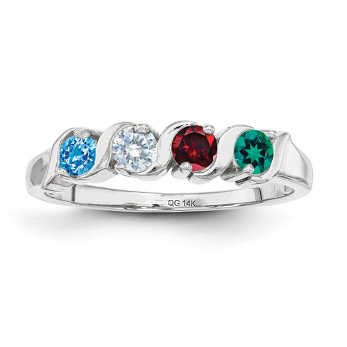 4 Birthstones Mothers Ring 14k White Gold Polished XMR11/4W
