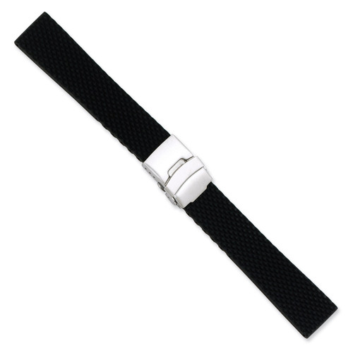 20mm Black Textured Silicone Silver-tone Deploy Buckle Watch Band 7.5 Inch BA223-20