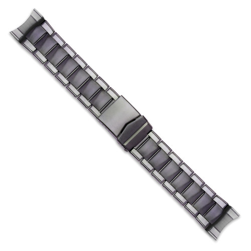 24-26mm Black PVD-plated Oyster-style with Deploy Watch Band BA251