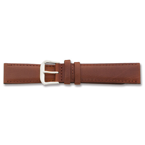 15mm Havana Smooth Leather Watch Band 7.5 Inch Silver-tone Buckle BAW117-15