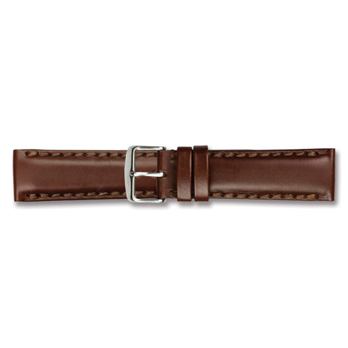 18mm Brown Oil Leather Watch Band 7.5 Inch Silver-tone Buckle BAW322-18