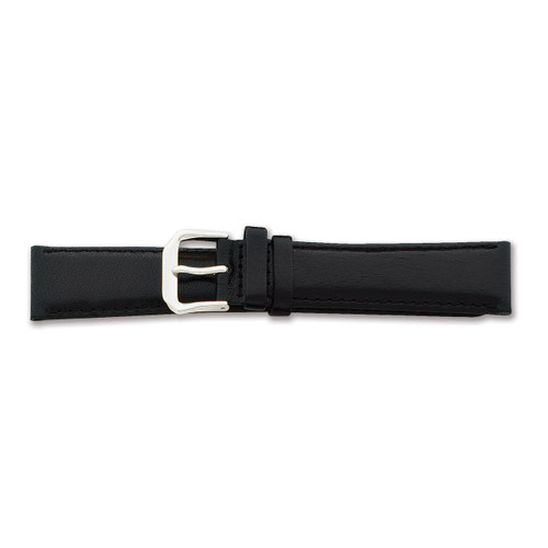 18mm Short Black Smooth Leather Watch Band 6.75 Inch Silver-tone Buckle BAW8S-18