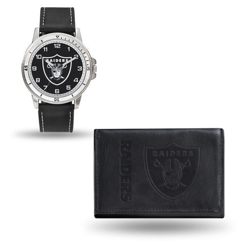 Oakland Raiders Black Leather Watch & Wallet Set GC4836